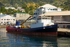 An old inter-island cargo ship at kingstown Stock Image