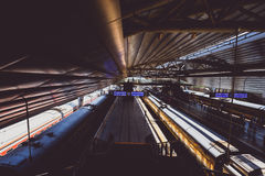 Old intercity train in Beijing Railway Station. BEIJING, CHINA - MAY 09, 2016: Old intercity train in Beijing Railway Station, China. It was completed on Royalty Free Stock Photo