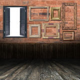 Old interior with the frames Royalty Free Stock Photos