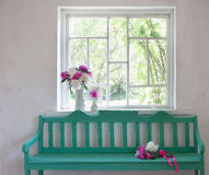 Old interior with green bench Royalty Free Stock Image