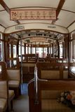 Old interior of an old tram royalty free stock photos