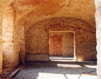 Old interior under reconstruction. An old interior with vaulting under reconstruction royalty free stock photo