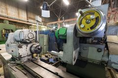 Internal grinding machine. Shop for metal machining. Old Internal grinding machine. Shop for metal machining Stock Image