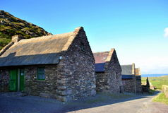 Old Irish cottages. Old irish stone cottages, located on co. Kerry. Ireland Stock Photos