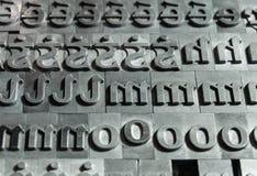 Old Irish font for printing machine stock photos