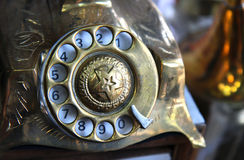 Old iron antique telephone. Detai of old iron antique telephone Royalty Free Stock Images