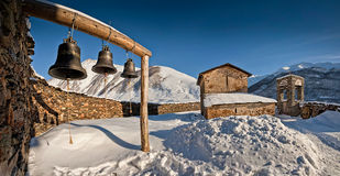 Old iron bells in the ancient orthodox church Stock Image