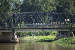 Old Iron Bridge across Ping river Stock Image