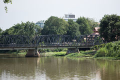 Old Iron Bridge across Ping river Royalty Free Stock Photography