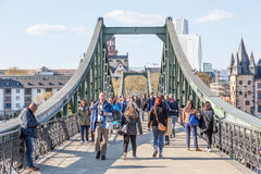 Old iron bridge in Frankfurt Royalty Free Stock Image
