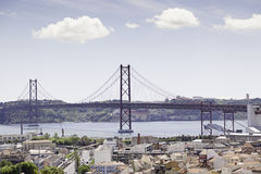 Old iron bridge in Lisbon Stock Photography