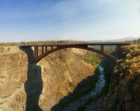 Old iron bridge over theCrooked River Canyon Royalty Free Stock Photo