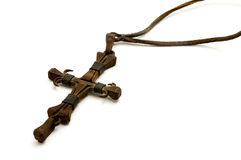 Old iron cross made from nails. On a white background stock image