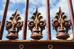 Old iron fence flourish decoration in vienna. An old iron fence flourish decoration in vienna Royalty Free Stock Photo