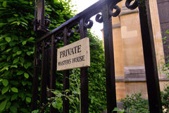 Old iron gate leading to the private garden. London, Temple Church, Master house Royalty Free Stock Photo