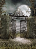 Old iron gate at night. Night scenery with an old iron gate and a raven Stock Images