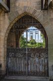 Old iron gates. Old and rusty entrance gates of Chateau de la Clayette in Burgundy, France Royalty Free Stock Photo