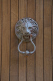 Old iron handle in the shape of lion. From italy Royalty Free Stock Image