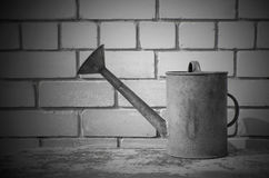 Old iron metal watering can Royalty Free Stock Photo