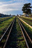 Old iron rails with green grass Stock Photos