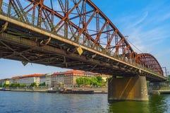 Old iron railway bridge over the Vltava river. Prague,Czech Republic Royalty Free Stock Photos