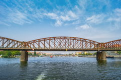 Old iron railway bridge over the Vltava river. Prague,Czech Republic Royalty Free Stock Images