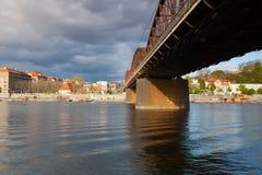 Old iron railway bridge in Prague,Czech Republic. Prague,Czech Republic - April  23,2017:  Old iron railway bridge in Prague,Czech Republic. The original bridge Stock Photos