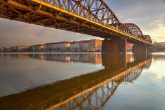 Old iron railway bridge in Prague,Czech Republic. Prague, Czech Republic - May 11,2017: Old iron railway bridge in Prague,Czech Republic. The original bridge Royalty Free Stock Photography