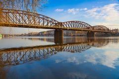 Old iron railway bridge in Prague,Czech Republic. The original bridge over the Vltava river built between 1871 – 1872 Stock Photography