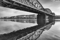 Old iron railway bridge in Prague,Czech Republic. The original bridge over the Vltava river built between 1871 – 1872 Royalty Free Stock Photo