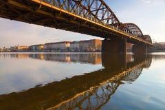 Old iron railway bridge in Prague,Czech Republic. The original bridge over the Vltava river built between 1871 – 1872 Stock Photos