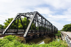Old iron railway construction bridge in Lamphun Thailand Royalty Free Stock Images