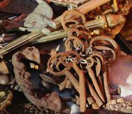 Old iron rusty keys at a flea market in Portugal. Old goods market. stock photos