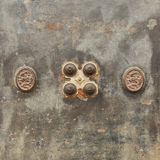 Old iron safe. Texture of old iron safe with dial safe lock Royalty Free Stock Images