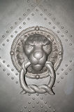 Old Iron shod door with a Lion muzzle, Dresden Castle, Germany Royalty Free Stock Image