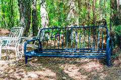 Old Iron Sofa Frame in Woods Royalty Free Stock Photography
