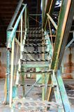 Old iron stairs. In ex-Soviet army building Stock Photography
