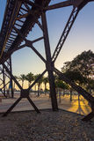 Old iron structure to transport minerals to praise boats almeria Royalty Free Stock Photos