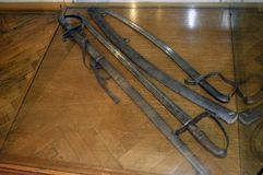 Old iron swords exposed. Royalty Free Stock Photography
