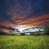 Old iron truss bridge Royalty Free Stock Image