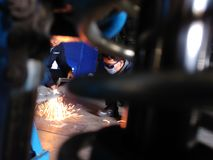 Old iron welder. S are unifying iron for industrial use stock image