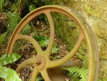 An old iron wheel, manufactured by Samuel Worssam and Co of England royalty free stock photos