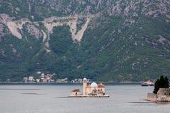 Old Island Church in Kotor Bay Stock Photo