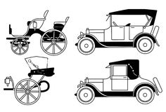 old isolated cars - vector Stock Images