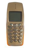 Old isolated mobile phone. Golden with orange Royalty Free Stock Photos