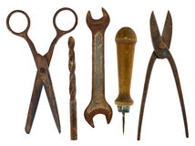 Old isolated tools:scissors, drill, wrench, awl, scissors for me Royalty Free Stock Photos