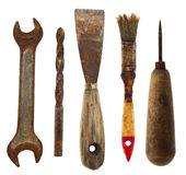 Old isolated tools:spatula, drill, wrench, awl, brush Royalty Free Stock Photo