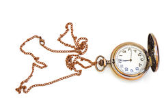 Old isolated watch. Beautiful photos of vintage watches on a chain. Isolated on white royalty free stock photography