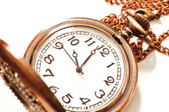 Old isolated watch. Beautiful photos of vintage watches on a chain. Isolated on white stock image