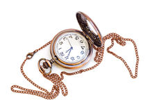 Old isolated watch. Beautiful photos of vintage watches on a chain. Isolated on white stock photo